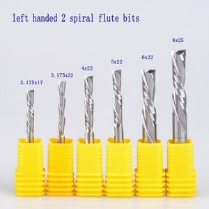 Image 1 - 5 uds 3.175mm 4mm 5mm 6mm AAA zurdos 2 espiral flauta brocas, abajo corte carburo endmill, zurdo cortador espiral