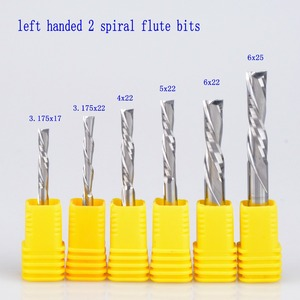 Image 1 - 5pcs 3.175mm 4mm 5mm 6mm AAA left handed 2 spiral flute bits, Down Cut carbide endmill, Left Handed spiral cutter