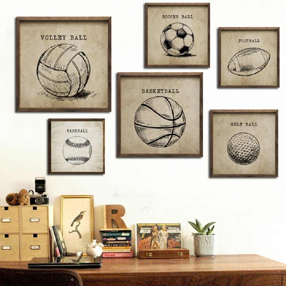 Vintage Sketch Basketball Soccer Balls Canvas Paintings Gym Sports Posters Prints Boy Fans Wall Art Picture Kids Room Home Decor