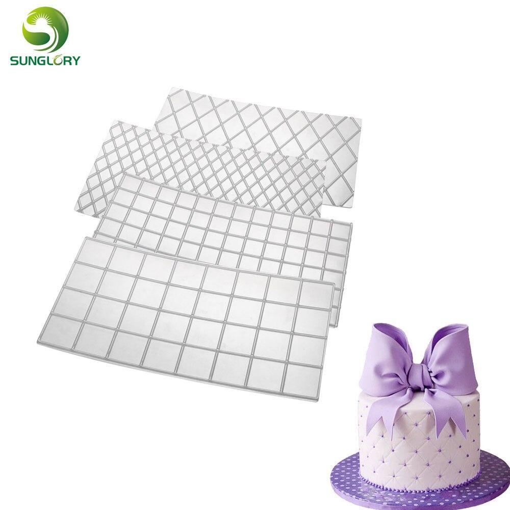 4pcs Cake Mold Decorating Tools Quilted Fondant Imprint Mat Pad Set Baking Tool