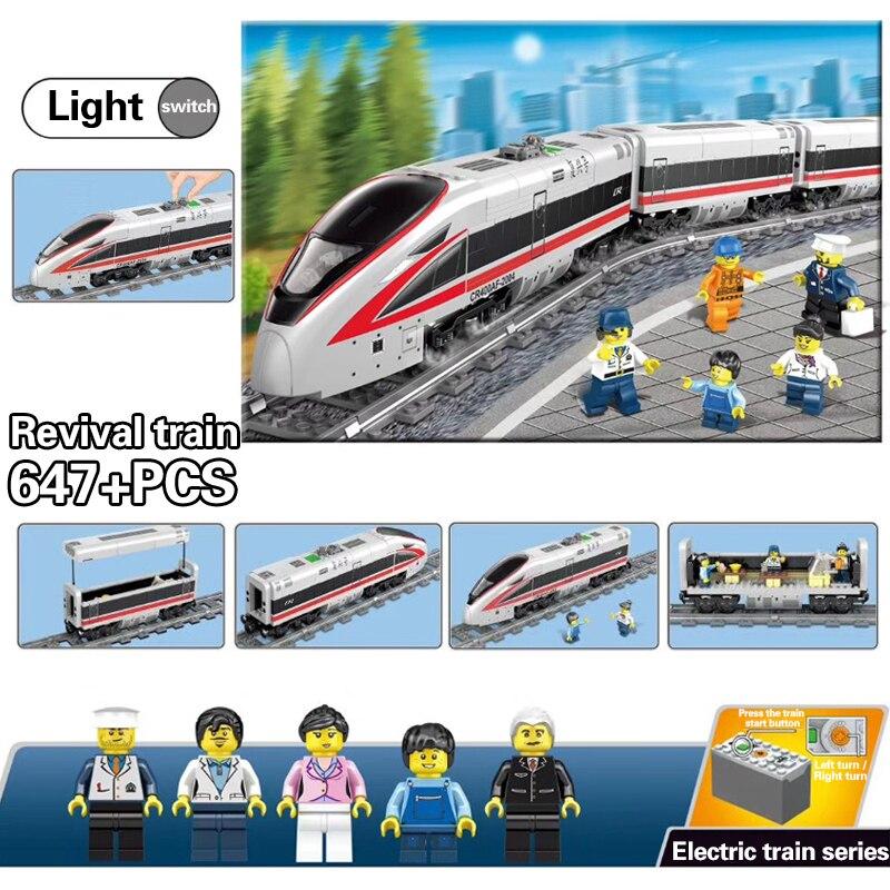 Mais novo KAZI 98229 GBL Alimentado Por Bateria Elétrica Trilho de Trem de Alta-velocidade DIY Blocos Tijolos brinquedos de Presente para as crianças brinquedo