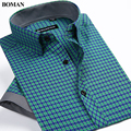 2017 New Arrival Summer Style Men's Short Sleeve Shirts Plaid Casual Fashion Shirts Slim Fit Young People Clothing