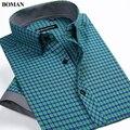 2017 novo estilo da chegada do verão dos homens de manga curta camisas xadrez moda casual camisas slim fit jovens clothing