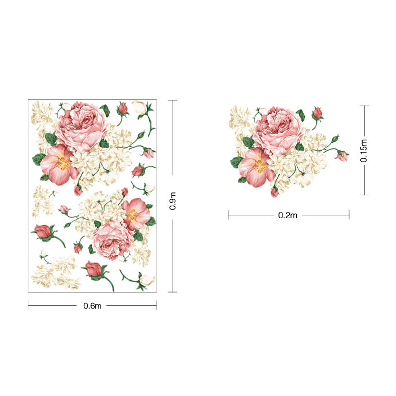 Beautiful 3D Rose Flower Wall Sticker For Kids Room Bedroom Living Room