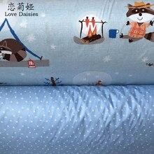100*160 cm 100% baumwolle cartoon roten panda camp picknick sterne twill diy für bettwäsche zelt handarbeit patchwork gewebe quilten stoff
