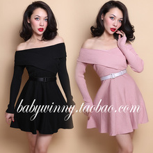 FREE SHIPPING 2016 Spring New Vintage Elegant Long Sleeved Cross Collar Knitting Strapless Black And Pink Dress Women Clothes