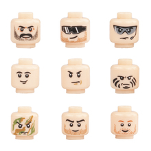 Wholesale MOC City Accessories Building Blocks Minifigs Face Heads Block  Military Soldier Figure Parts Brick Toys