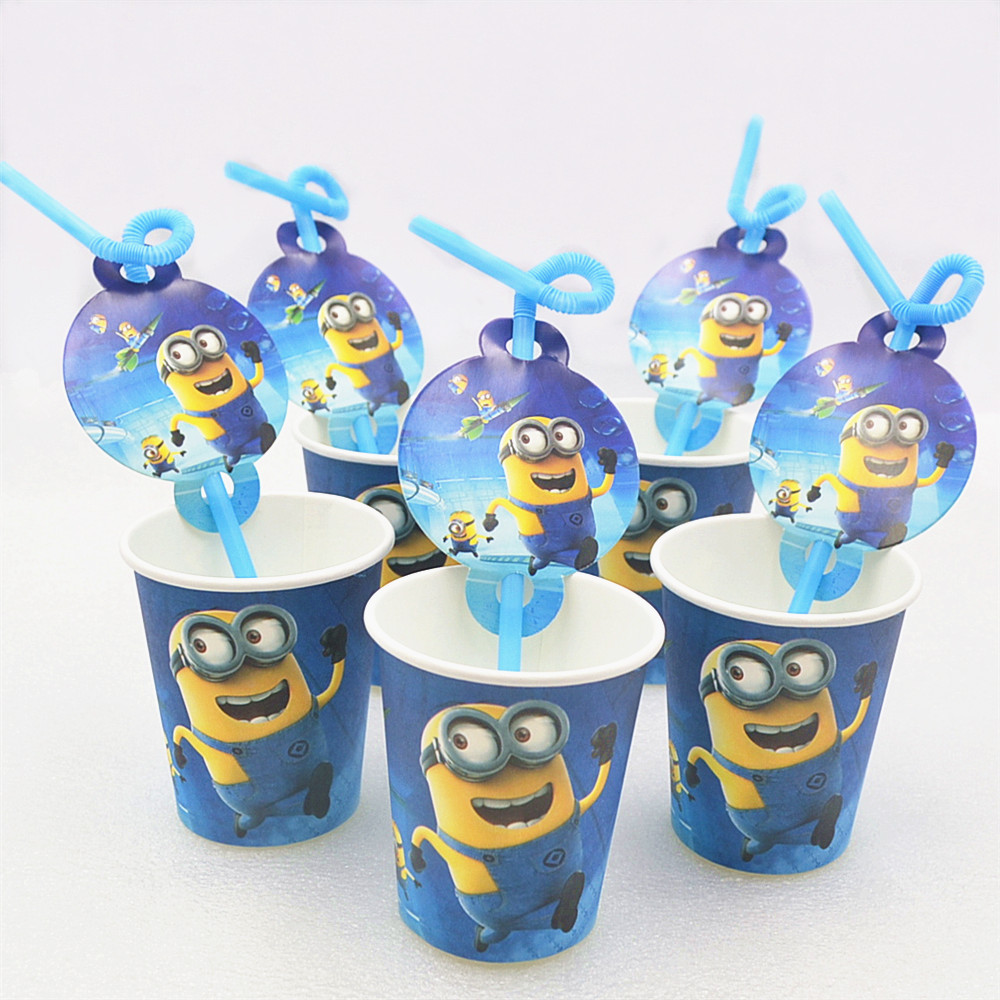 10pcs/set Birthday Party Decoration Disposable Straw Paper Cups Minions Cartoon Pattern Theme Kids Supplies