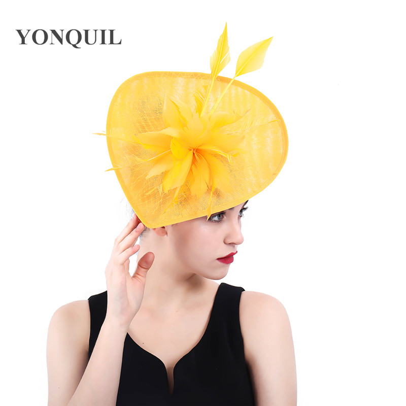 kentucky derby yellow wedding Fascinators millinery hats women headwear big hats veils accessories bridal ladies days headpiece