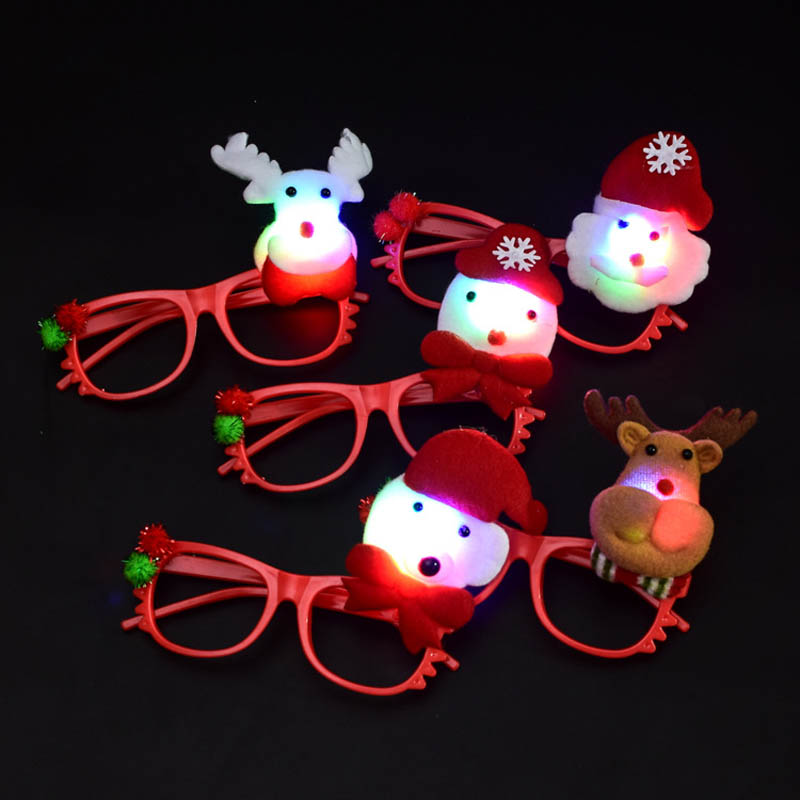 Christmas Headband Light Up Hat Glasses Pen Brooch Accessories Decoration For Party Holiday