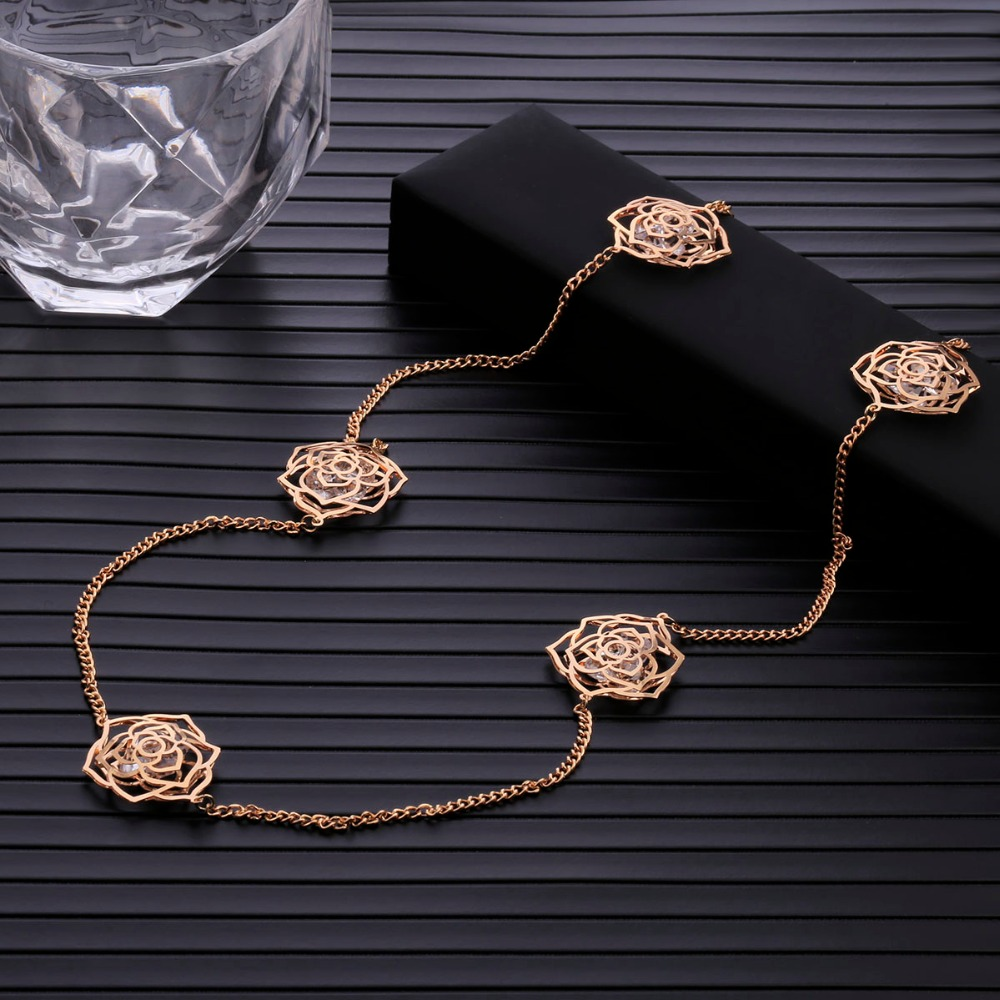 Elegant Rose Flower Chains Necklace Sweet Fashion Jewelry For Women Sweater Necklaces Birthday Party Hot Selling Drop Shipping  Elegant Rose Flower Chains Necklace Sweet Fashion Jewelry For Women Sweater Necklaces Birthday Party Hot Selling Drop Shipping