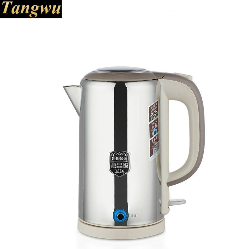 лучшая цена All-steel electric kettle food grade 304 stainless steel insulated tea boiling water