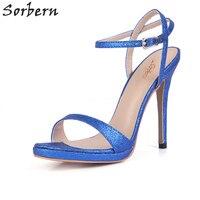 Sorbern Blue Glitter Women Sandals Stiletto Heel Colorful Shoes Sexy Platform Sandal Shoes Ladies 2018 Size