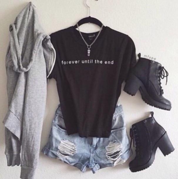 Womens short sleeve casual tshirt Forever Until the End black t shirt 100%  Cotton O-Neck Tees Shirts t-shirt fe42c9fb36