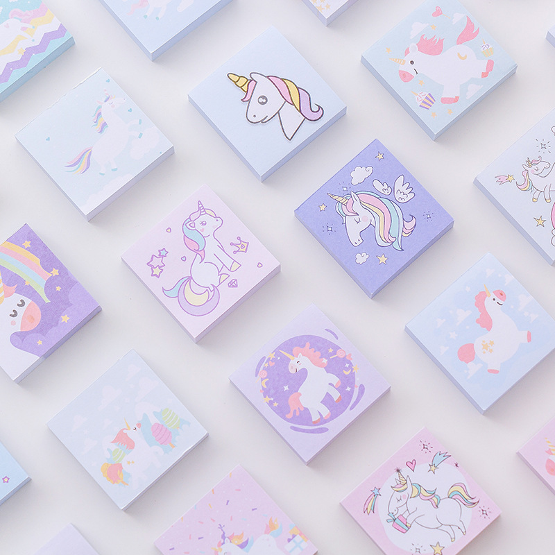 5pcs Cute Kawaii Cartoon Unicorn Memo Pad Post It Note Sticky Paper Korean Stationery Planner Stickers Notepads School Office
