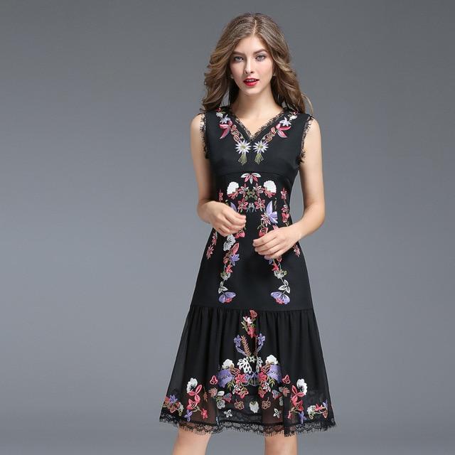 Women Autumn Dress Office Ladies Embroidery Floral Black A Line ...