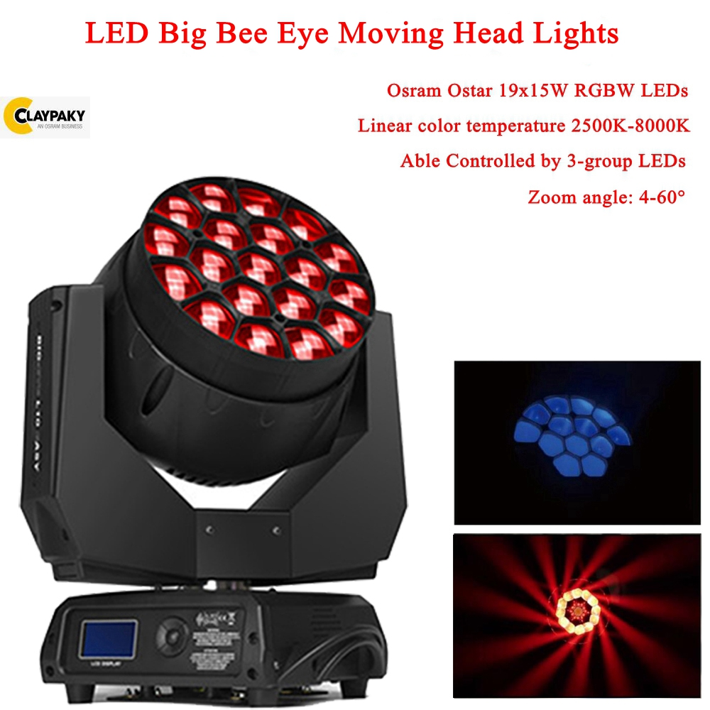 2019 Newest LED 19x15W RGBW 4in1 Bees Eyes Big Eyes Moving Head Stage Light With Zoom Rotating Aura Disco DJ Party Stage Lights