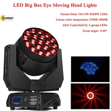2019 Newest LED 19x15W RGBW 4in1 Bees Eyes Big Eyes Moving Head Stage Light With Zoom Rotating Aura Disco DJ Party Stage Lights big eyes