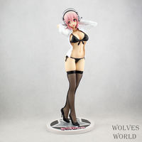 Anime Figure 25 CM Super Sonico Black Or Whie Bikini Stocking Shirt Cast Off PVC Action