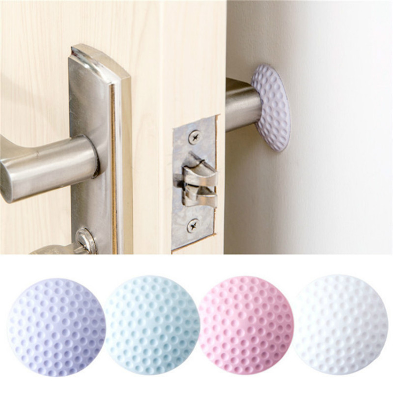 2 Pcs Wall Stickers Mute Door Stick Golf Styling Rubber Fender Handle Protective Pad Protection Edge & Corner Guards Baby Lock