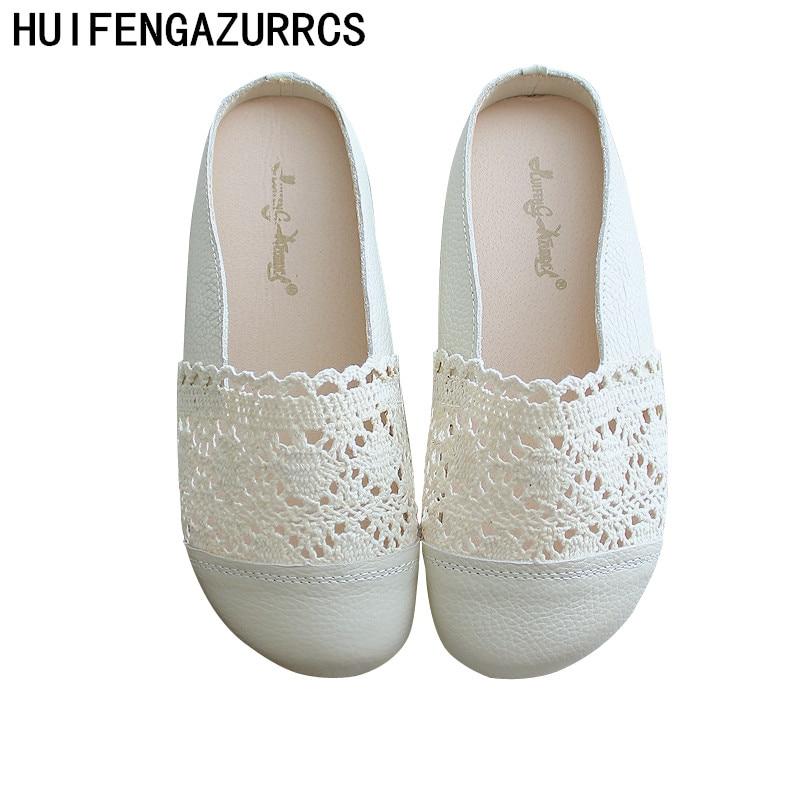HUIFENGAZURRCS Genuine leather Slipper female mesh hollowed Semi Baotou slippers flat bottom pregnant outdoor Leisure Slippers