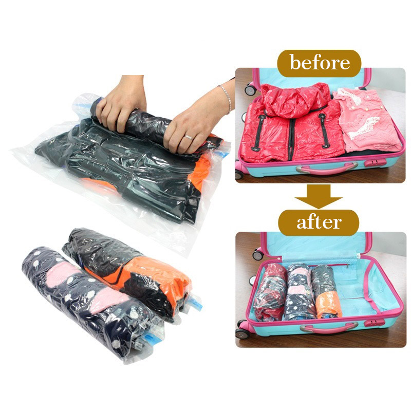 Travel Vacuum Storage Bag For Clothing Seal Pouch Hand Rolling Vacuum Compressed Bag Space Saver Organizer Free Shipping 272