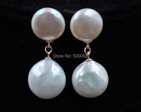 Stunnning 12mm 14mm White Freshwater Coin Pearl Earring Rose Gold Plated