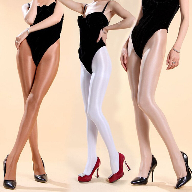 70D Meia-calça Meias de Super brilhante frente elegante virilha meia-calça sexy mulheres sólidos calças justas de veludo transparente