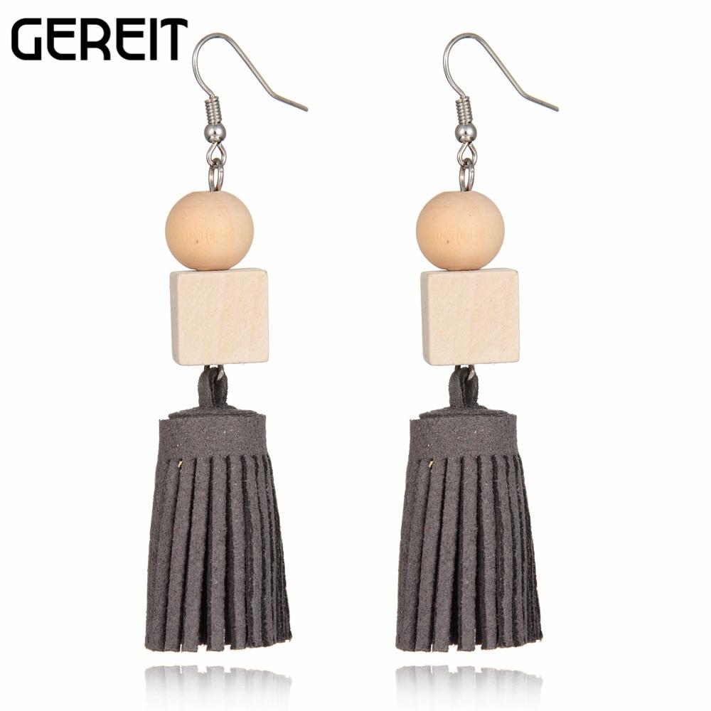 8cm Length Handmade Long Drop Leather Fringe Tassels Earrings With  Geometric Wooden Beads Earrings For Women