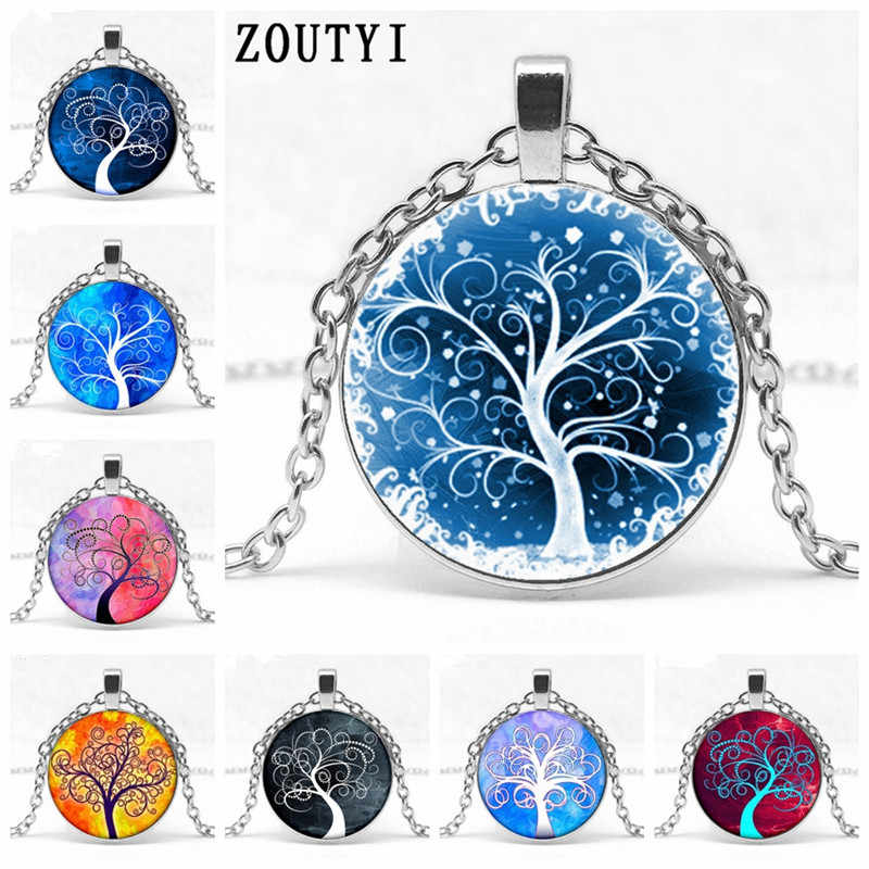 2018/ new series, tree of life pattern concave glass inlaid into silver pendant necklace, men and women wear necklace, wholesale