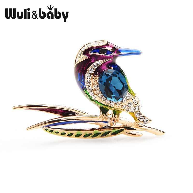 Wuli & bebê cristal azul roxo e verde esmalte pássaro broches para mulheres e homens liga animal festa de casamento banquete broche