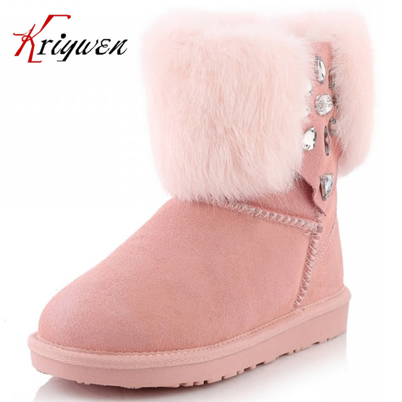 ФОТО Large size 34-43 Women boots zapatos mujer ankle boots for women genuine leather shoes women botas femininas 2015 new Snow boots