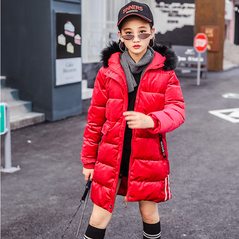 цены 2018 Duck Down Children Winter Jacket Warm Thick Fur Collar Hooded Boy girls Winter Coat Kids long down Coats For Teenage 4Y-10Y
