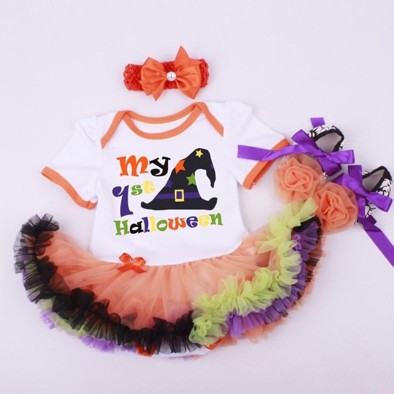 Halloween gift baby girls boys printed skull head pumpkin skirt jumpers +bow headband +flower shoes set infant clothes 17A801