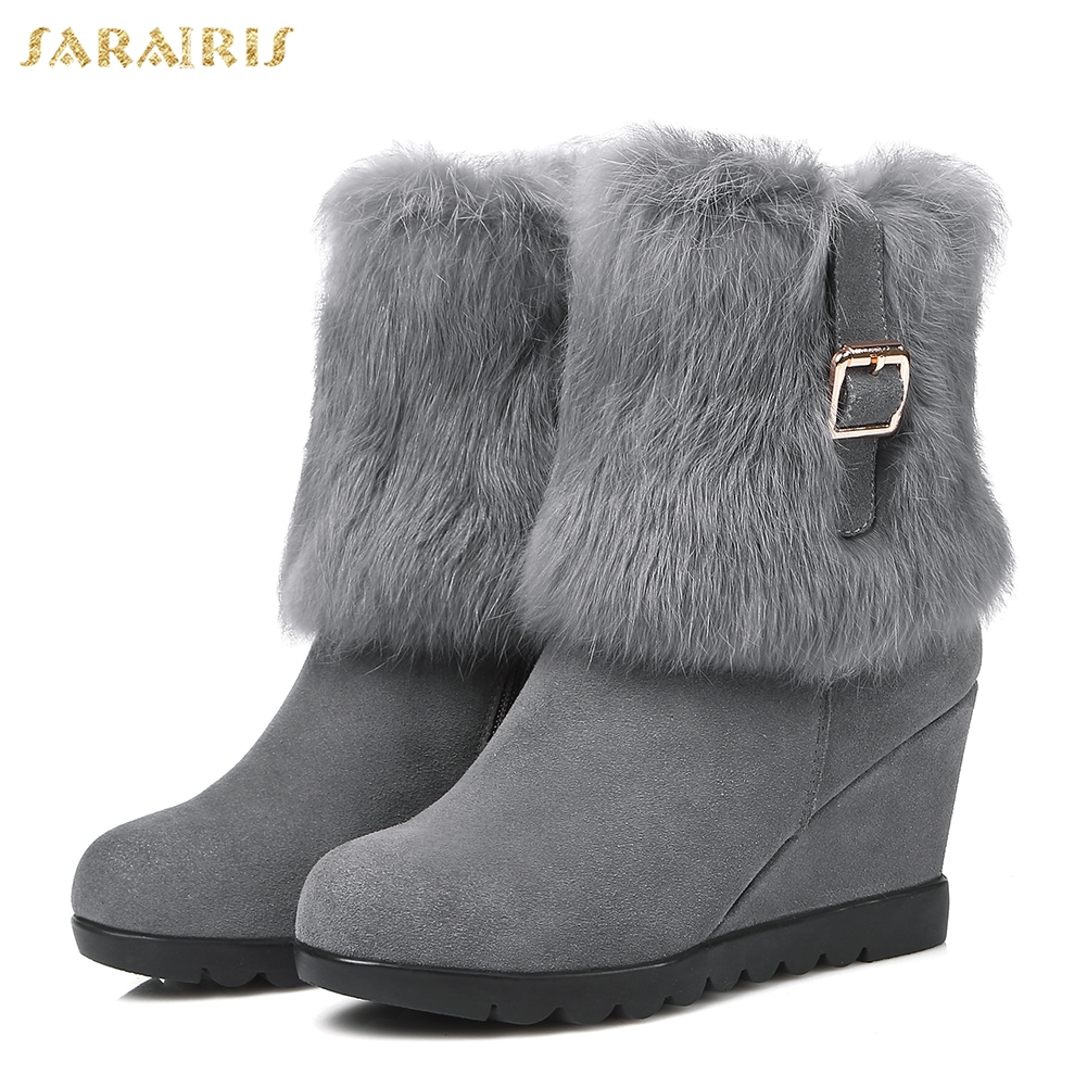 SARAIRIS new Hot sale cow suede leather wedge high heels snow Boots Women Shoes winter warm real fur Woman mid calf Boots