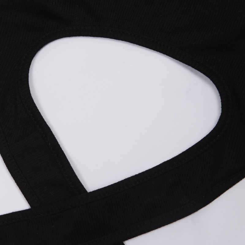 InstaHot V צוואר נצנצים ספגטי רצועת חולצות 2019 קיץ ללא שרוולים בחזרה רוכסן סקסי יבול למעלה שחור לבן נשי Bralette טבור