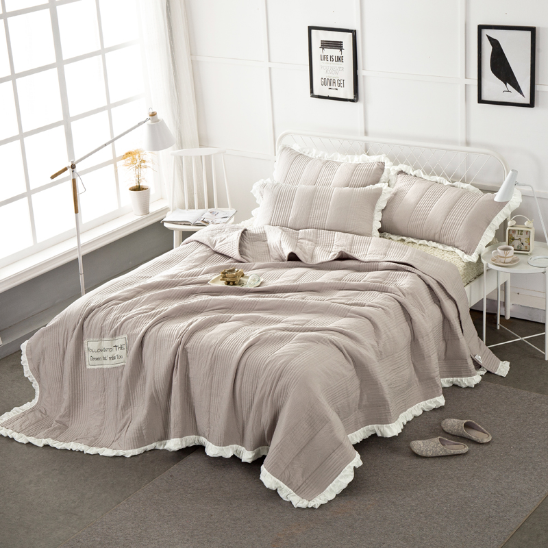 Papa Mima Washed Cotton Ruffles Solid color 3pc Sheets Set 250x250cm Bed cover 2 Pillowcase 48x74cm