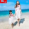Мама дочь соответствующие наряды пляж платье летом шифона белый moeder dochter kleding 2016 Высокое качество возраст 8 9