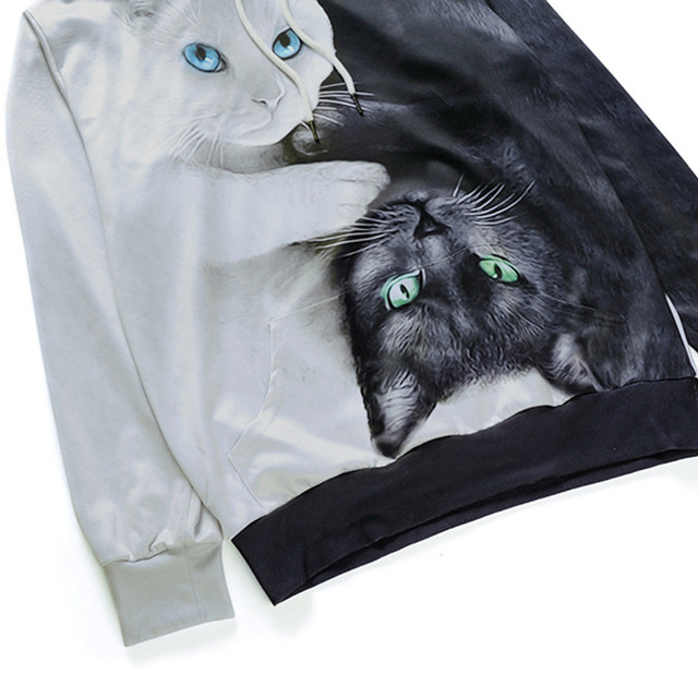 Yin and Yang Cats Printed Sweatshirt