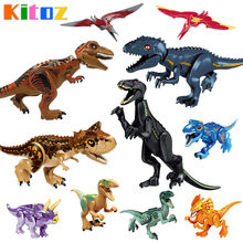 Kitoz Big Size Jurassic Dinosaur World T-Rex IndoRaptor Velociraptor Triceratops Figure Toy Building Block Compatible with Lego(China)