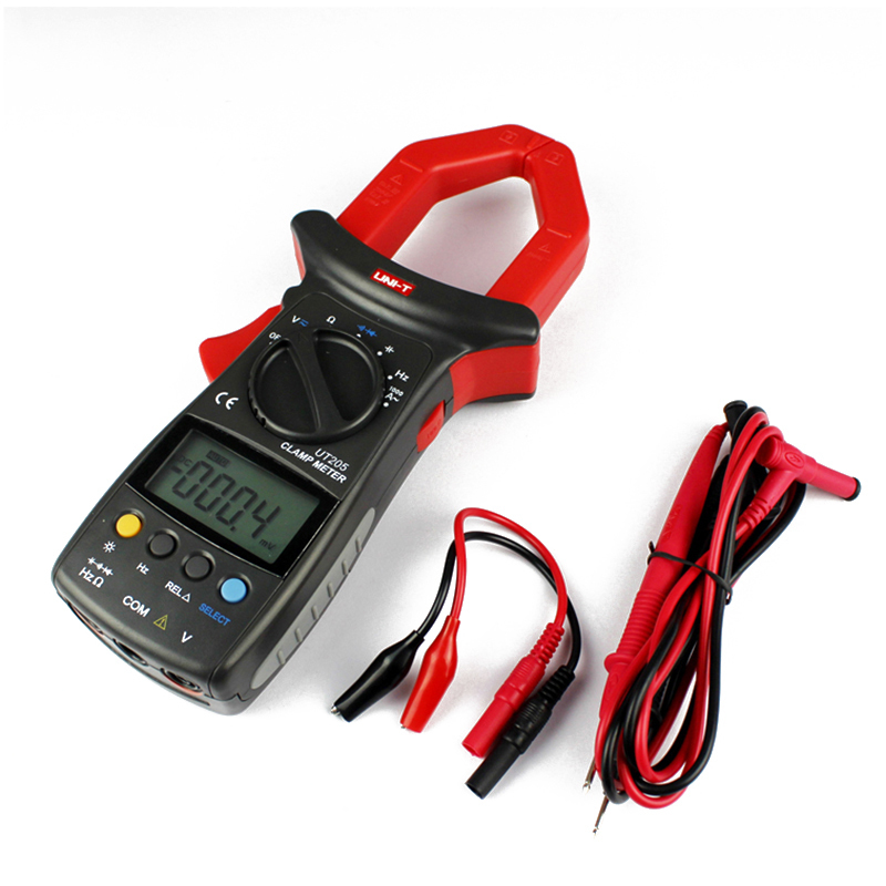 High Quality UT205 3 3/4 Auto Range Digital Current Clamp 1000A 600V Meter UNI-T Ammeter Voltmeter LCD Multimeter China new arrivals ut206 3 3 4 digital auto range current clamp multimeter capacitance 1000a 600v uni t meter with temperature china