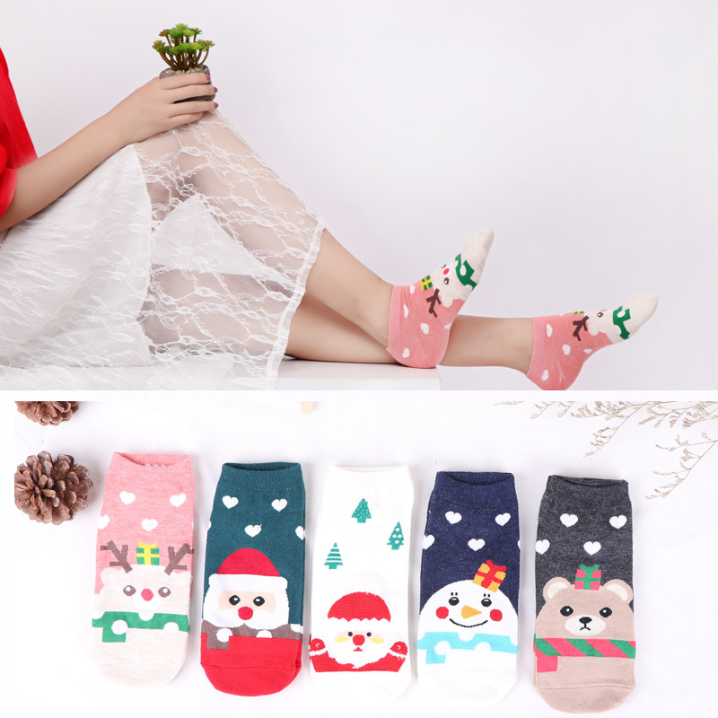 5 Pairs / Pack New Winter Ladies Short Cut Low Boat Socks Christmas Lovely Women Ankle Socks Cartoon Cute Cotton Happy Socks