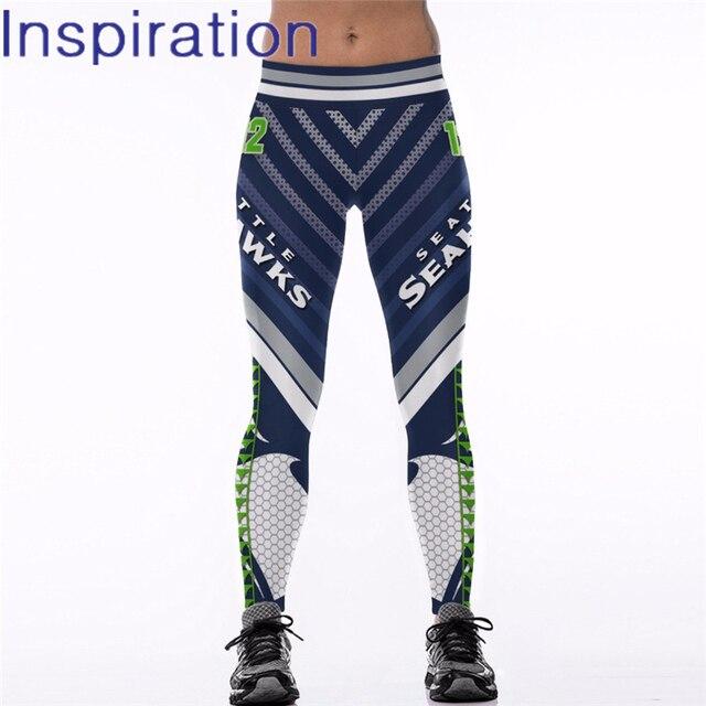 194eeab1561 2018 Seattle Seahawks Team Logo Fitness 3D Printed Elastic Casual Leggings  for Women American Football Sport Pants Legging
