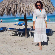 Cotton Beach Cover up Kaftan Sarong Bathing Suit Lace Cover ups Beach Pareo Swimsuit Cover up Womens Swim Wear Beach Tunic #Q561