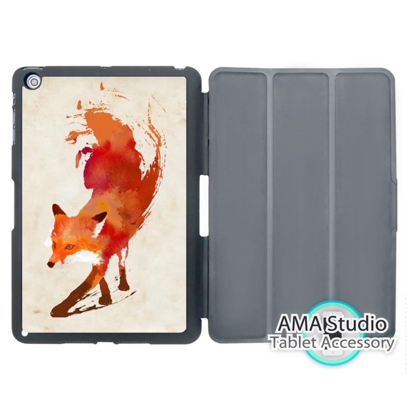 Watercolor Fox Art Paint Case For Apple iPad Mini 1 2 3 4 Air Pro 9.7 Stand Smart Folio Cover