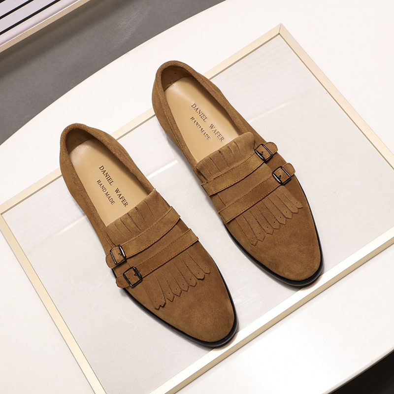 Fashion Men Suede Leather Casual Loafers Street Style Slip On Black Brown Blue Buckle Monk Strap Men's Wedding Party Dress Shoes