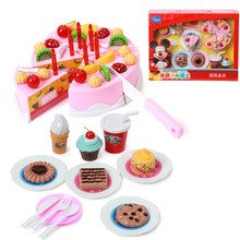 Disney Kids Kitchen Pretend Play Cutting Birthday Cake Food Toy Cocina Juguete Plastic Play Food Toys Set for Children Girl Gift