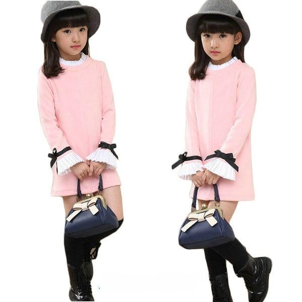 Spring Autumn Little Girls Clothes Sweet Cotton Kids Dresses 2018 New Arrival Long Sleeve Children's T-shirts Dress Clothing цена