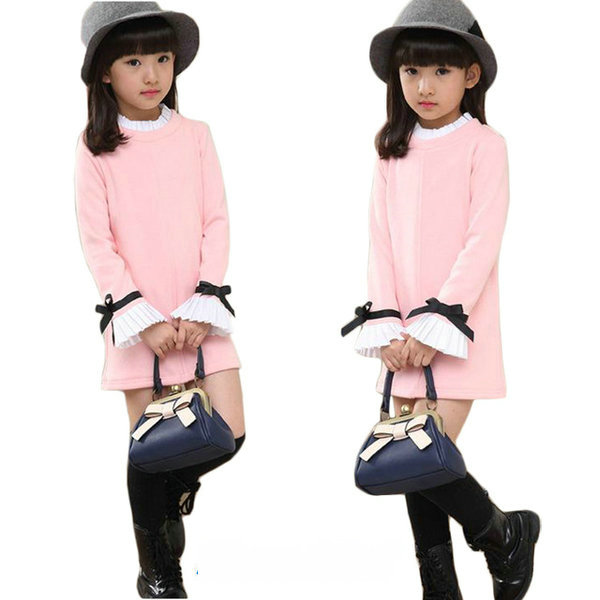 Spring Autumn Little Girls Clothes Sweet Cotton Kids Dresses 2018 New Arrival Long Sleeve Childrens T-shirts Dress Clothing