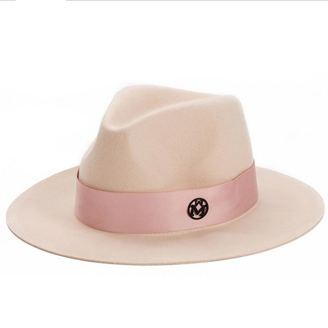 $ US $11.34 oZyc Ladies pink wool feodra hat winter womens M letter wool Jazz fedoras pink hat for women large brim cowboy panama fedoras